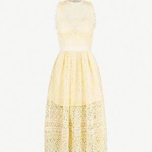 Self-Portrait yellow circle floral lace midi dress